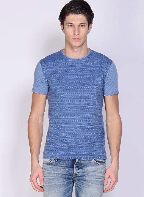 T-Box Baskılı Tişört İndigo